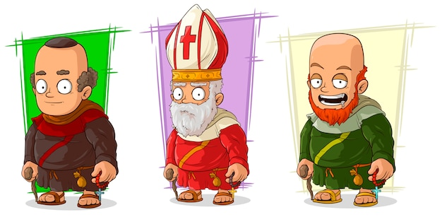 Cartoon old monk and priest characters set
