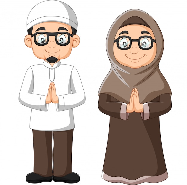 Cartoon old muslim couple