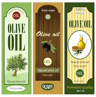 Cartoon olive oil labels set