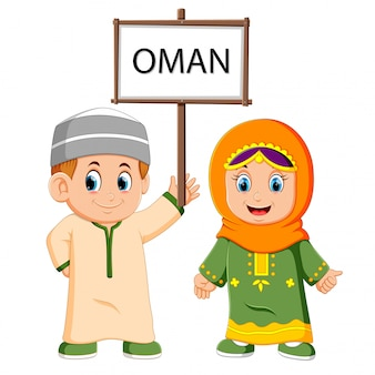 Cartoon oman couple wearing traditional costumes