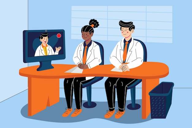 Cartoon online medical conference illustrated