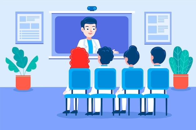 Мультяшная онлайн-медицинская конференция проиллюстрирована