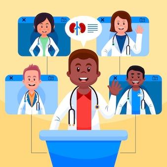 漫画のオンライン医療会議のイラスト