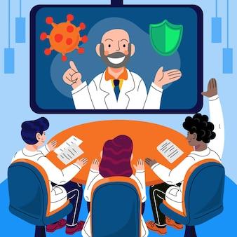 Conferenza medica in linea del fumetto