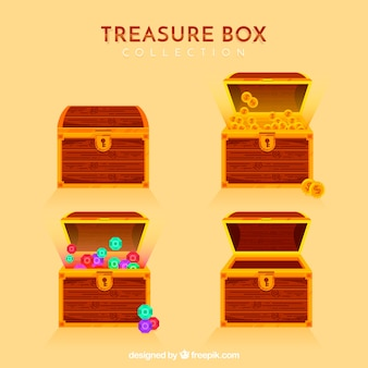 Cartoon opened and closed treasure box collection