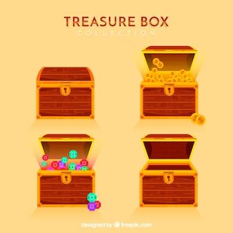 Cartone animato aperto e chiuso collezione di scatole del tesoro