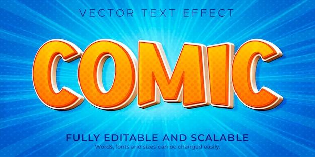 만화 오렌지 텍스트 효과 편집 가능한 만화와 재미있는 스타일