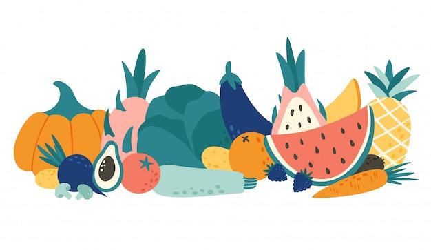 유기농 식품 만화. 야채와 과일, 천연 과일 및 야채 제품 벡터 일러스트 레이 션
