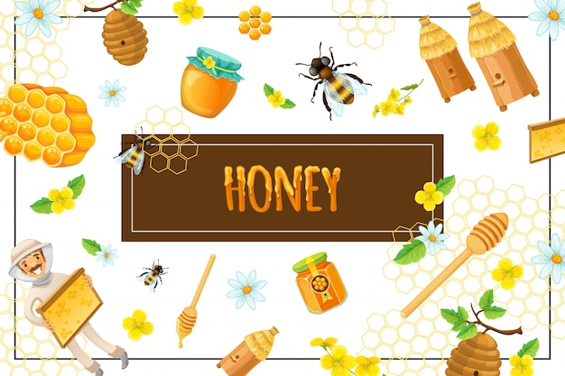 Cartoon organic honey composition with honeycomb flowers bees hives stick beekeeper pot and jar of sweet products in frame