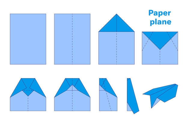 Cartoon origami diagram illustration of paper plane on white background. back to school
