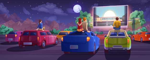 Cartoon outdoor drive-in cinema. car movie theater in open air with loving couple, lonely boy and girl. summer night with people sitting on automobile roof and watching film on big glowing screen.