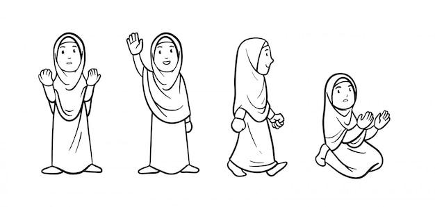 イフラムの服を着ているイスラム教徒の女性キャラクターの漫画概要図