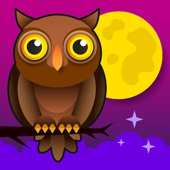 Cartoon owl. animal wildlife cartoon character. modern vector illustration