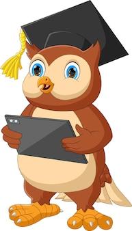 Cartoon owl holding phone tablet isolated on white background