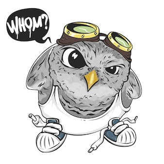 Cartoon owl, illustration for print and web. character in the modern graphic style. -