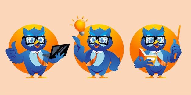 Cartoon the owl uses glasses mascot design