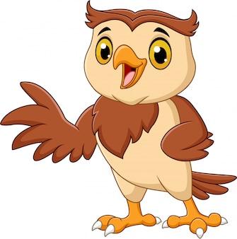 Cartoon owl waving