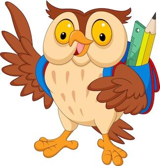 Мультяшная сова с рюкзаком