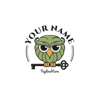 Cartoon owl with key logo template