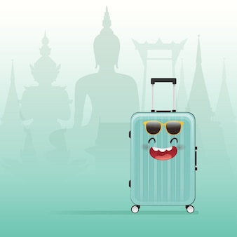 Cartoon packed suitcase on thail