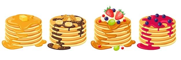 Cartoon pancakes isolated on white