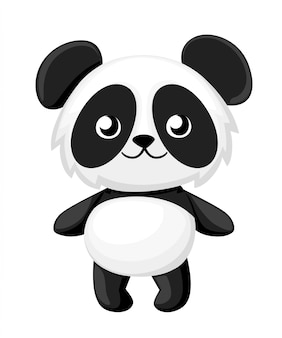 Cartoon panda illustration. cute baby panda.  illustration  on white background. web site page and mobile app