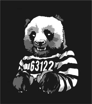 Cartoon panda prisoner in handcuffs illustratioin