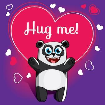 Мультяшная панда готова к объятиям. забавное животное. милый мультфильм домашнее животное на белом фоне. с надписью от руки фраза обними меня