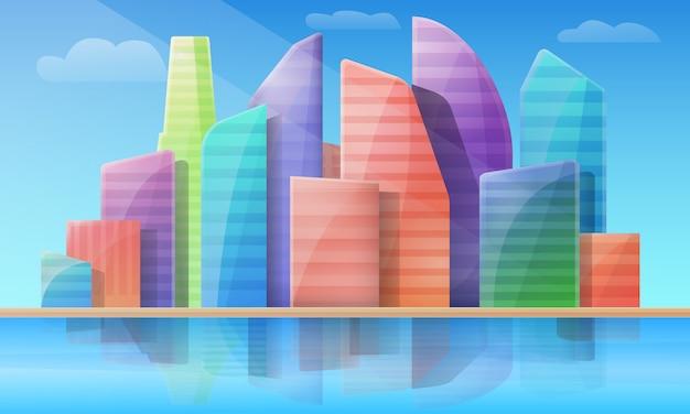 日、イラストで高層ビルが付いている都市の漫画パノラマ