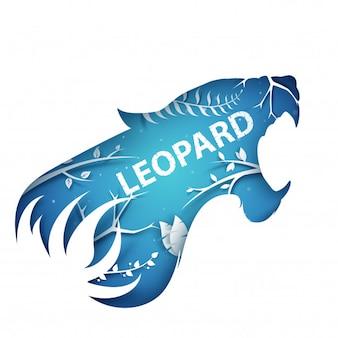 Cartoon paper branch. leopard illustration.