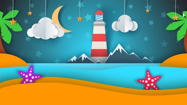 만화 종이 섬. 해변, 손바닥, 별, 구름, 산, 달, 바다.
