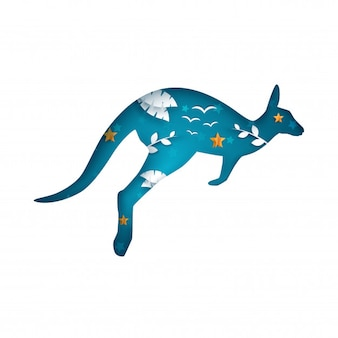Cartoon paper kangaroo