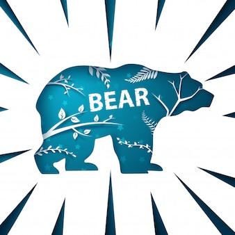 Cartoon paper landscape. Bear illustration.
