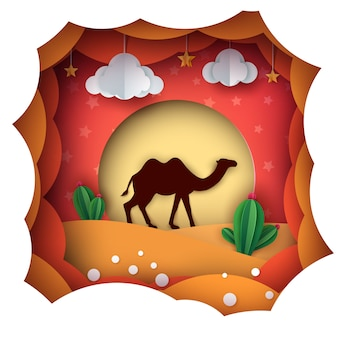 Cartoon paper landscape. camel illustration.