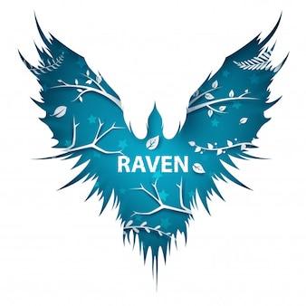 Cartoon paper landscape. crow, raven illustration