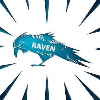 Cartoon paper landscape. raven, crow illustration halloween template