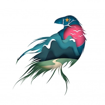 Cartoon paper landscape. raven, crow illustration