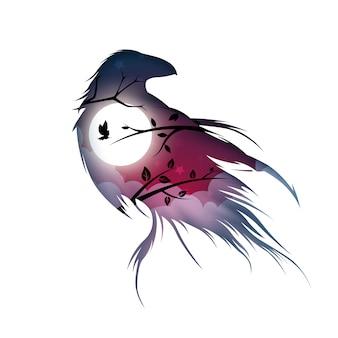 Cartoon paper landscape. raven illustration