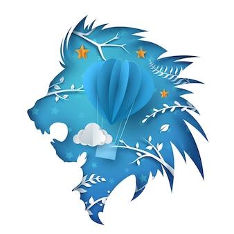 Cartoon paper lion. Air ballon illustration.
