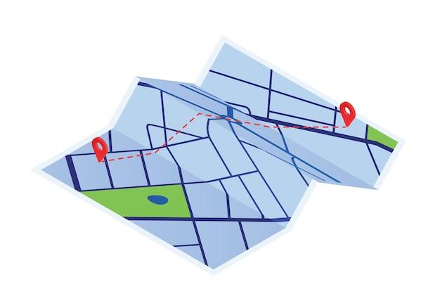 赤い点のベクトルグラフィックイラストと漫画の紙の地図。カラフルなローカルストリートgpsは、白い背景に分離してナビゲートします。 2つのマーカー間の都市ルートナビゲーション。地理的距離計画。