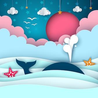 Cartoon paper sea. whale, cloud, sun star