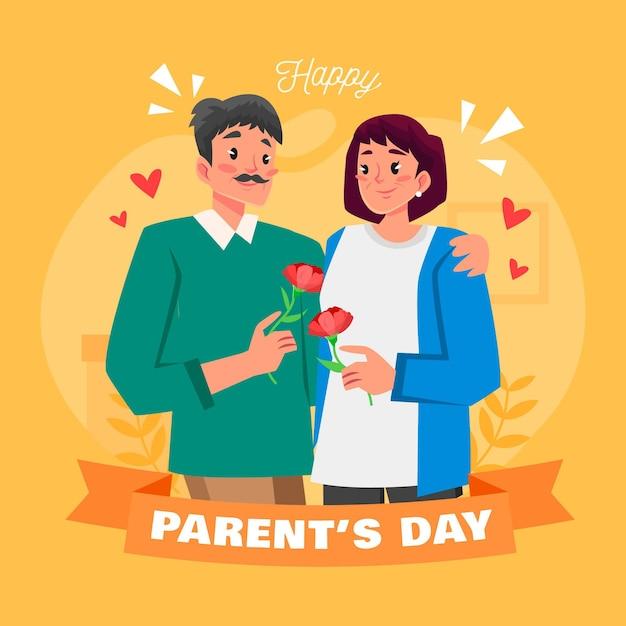 Cartoon parents' day illustration