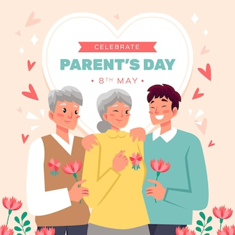 Cartoon parents' day illustration