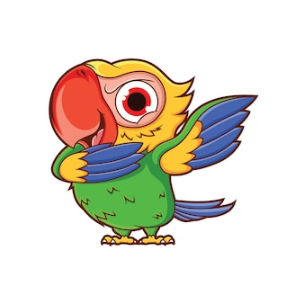Cartoon parrot dubbing with a funny bold expression