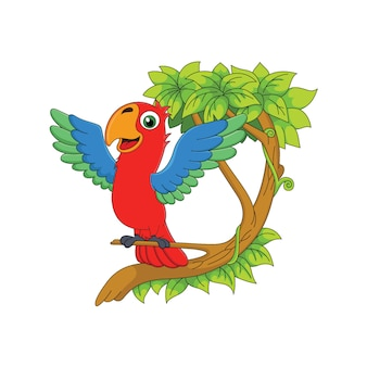 Cartoon parrot is perched on a tree