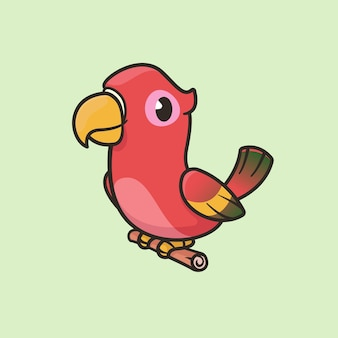 Cartoon parrot macaw on tree branch