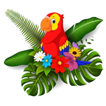 Cartoon parrot with tropical flower