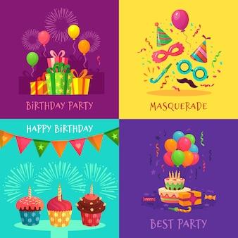 漫画のパーティの招待状。お祝いカーニバルマスク、誕生日パーティーの装飾、カラフルなカップケーキイラストセット