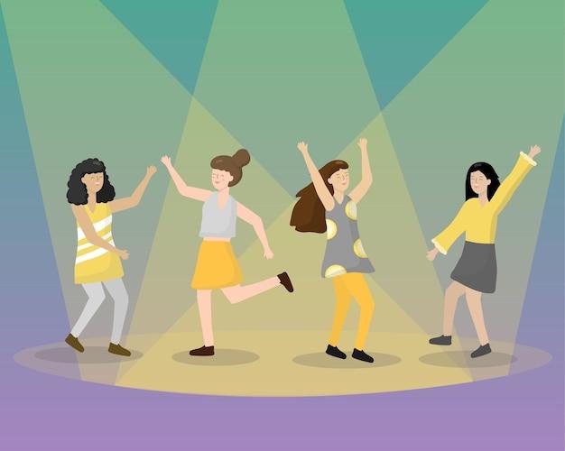 漫画パーティーの人々。ダンスパーティーを楽しんでいるステージの女性で踊る若い女の子のグループ。夜の裏庭パーティー4人の幸せなキャラクターが踊っています。フラットスタイルのお祝い漫画イラスト
