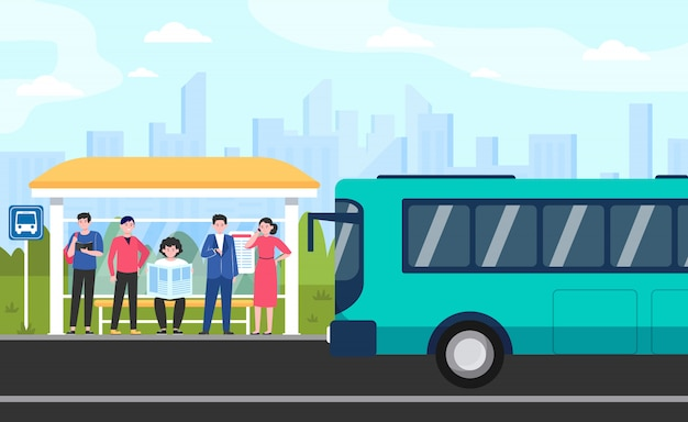 Мультяшный пассажиры, стоящие на автобусной остановке